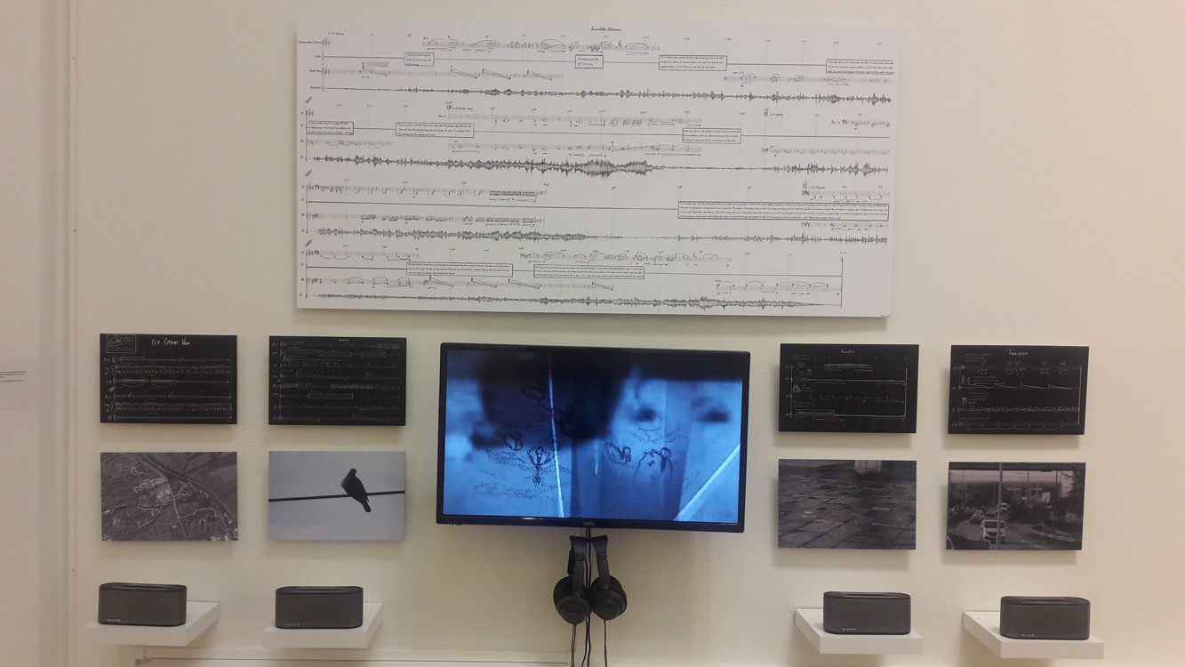 Incredible Distance in its entirety – combining audio, film, handwritten scores, timeline and imagery. Shown here at the WHALE Arts centre where local residents participated in six weeks of workshops.