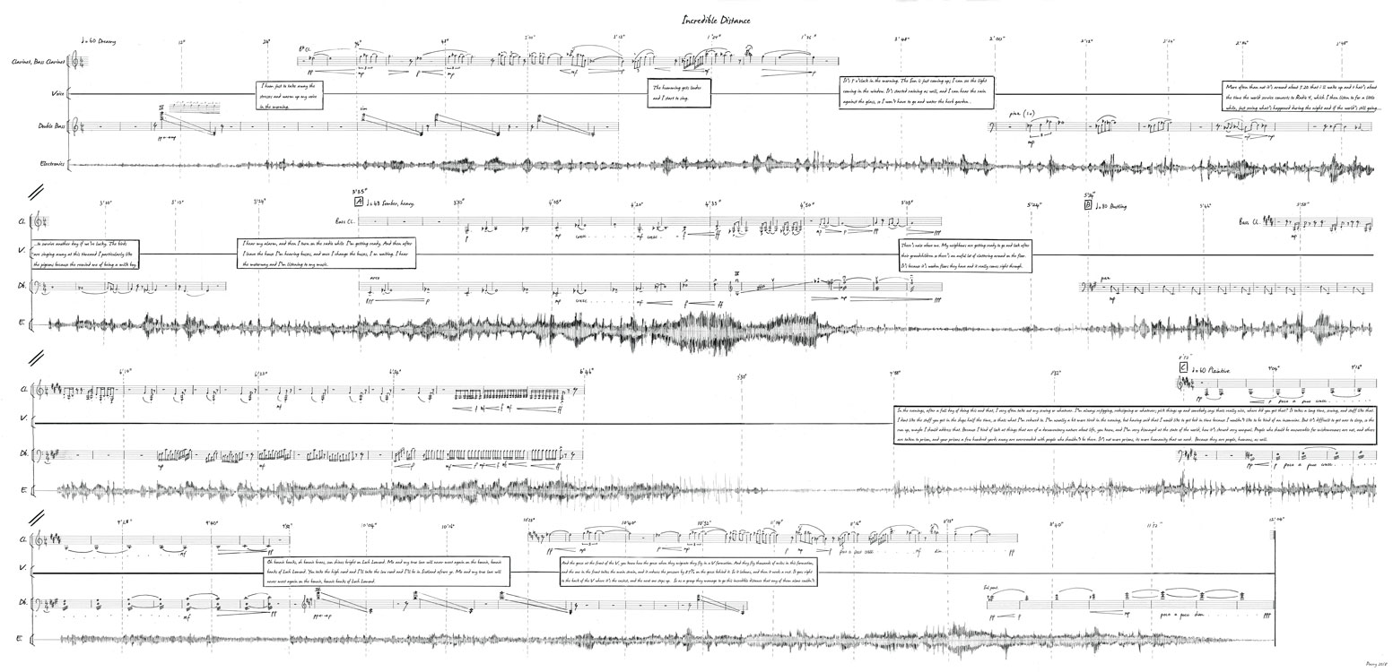 Composer Suzanne Parry's score combines the conventional notation of the SCO's musical instruments with the soundwave produced by everyday noises, while simultaneously acting as a timeline of 24 hours in Wester Hailes.