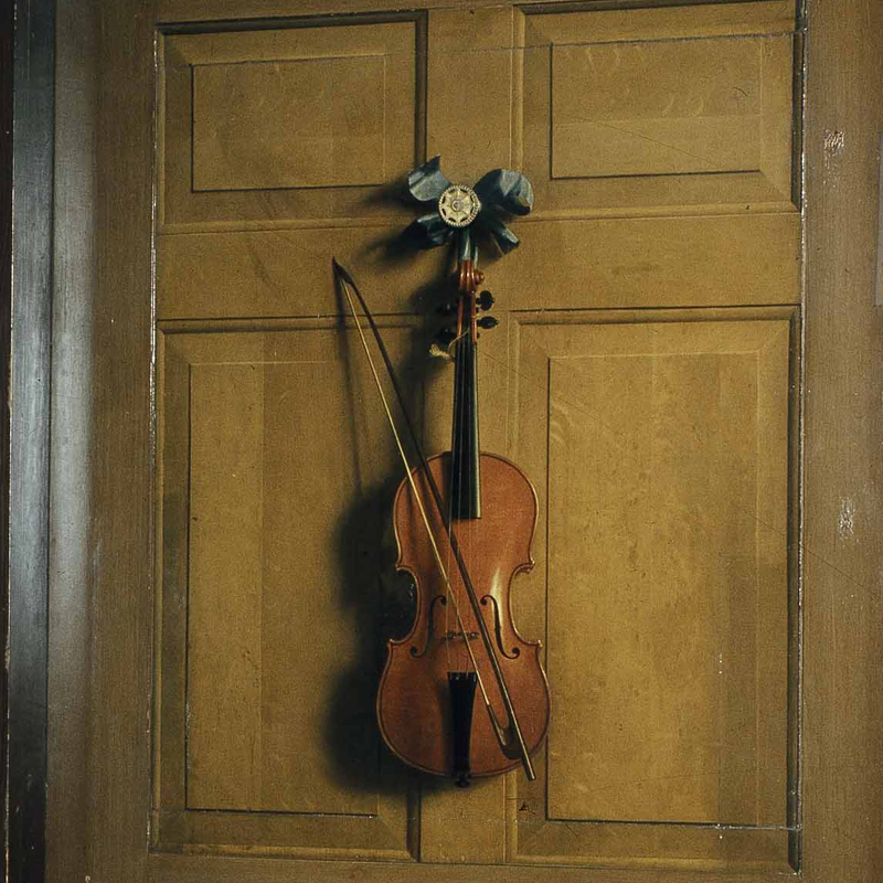 A close-up of Dutch artist Jan van der Vaart's image of a violin, a superb example of Trompe L'oeil painting